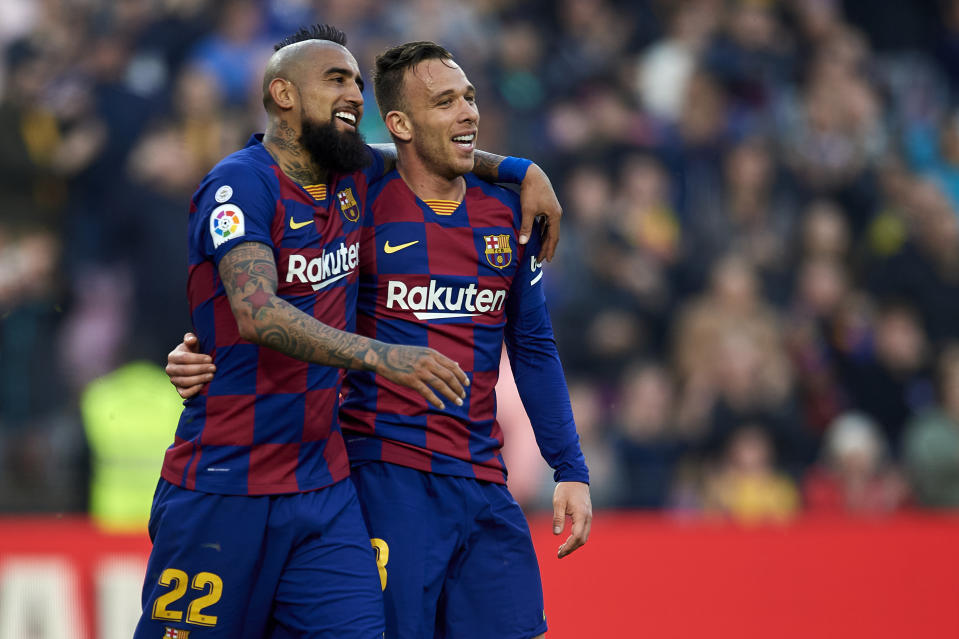 Arthur Melo of Barcelona celebrates after scoring his sides first goal with Arturo Vidal during the Liga match between FC Barcelona and SD Eibar SAD at Camp Nou on February 22, 2020 in Barcelona, Spain. (Photo by Jose Breton/Pics Action/NurPhoto via Getty Images)
