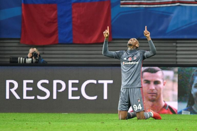 Besiktas' Talisca celebrates scoring the 1-2 during their match against RB Leipzig in Leipzig, eastern Germany, on December 6, 2017