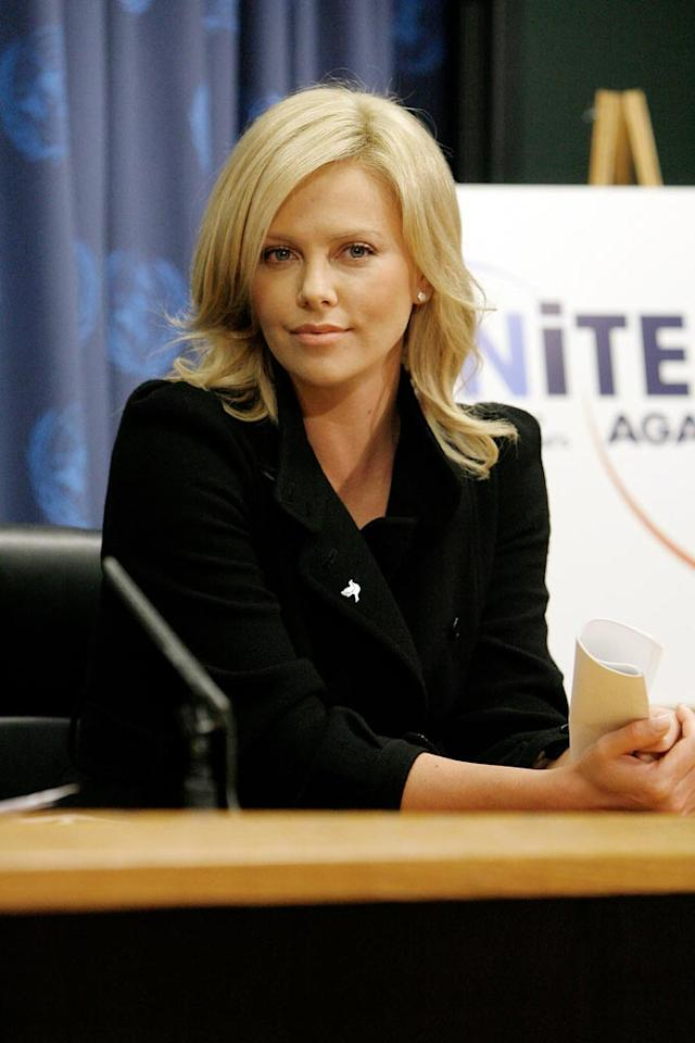 "Charlize Theron was named a U.N. Messenger of Peace last week. The actress will campaign to end violence against women around the globe. ""This is something that has been very dear to me, and disturbing to me for a long time,"" she said at Monday's induction. When Charlize was 15, her mother fatally shot her alcoholic father after he threatened her family. Jemal Countess/<a href=""http://www.gettyimages.com/"" target=""new"">GettyImages.com</a> - November 17, 2008"