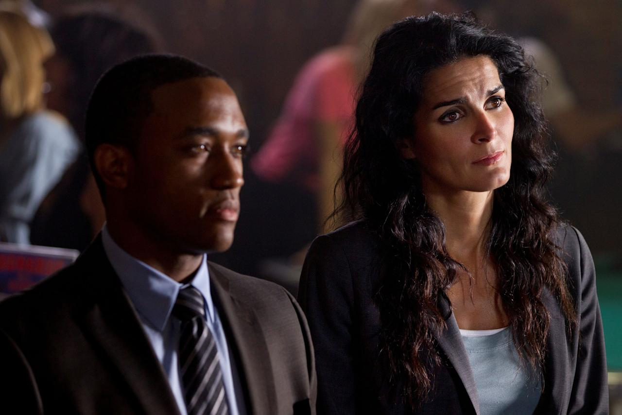 "Lee Thompson Young and Angie Harmon in the ""Rizzoli & Isles"" episode, ""Virtual Love."""