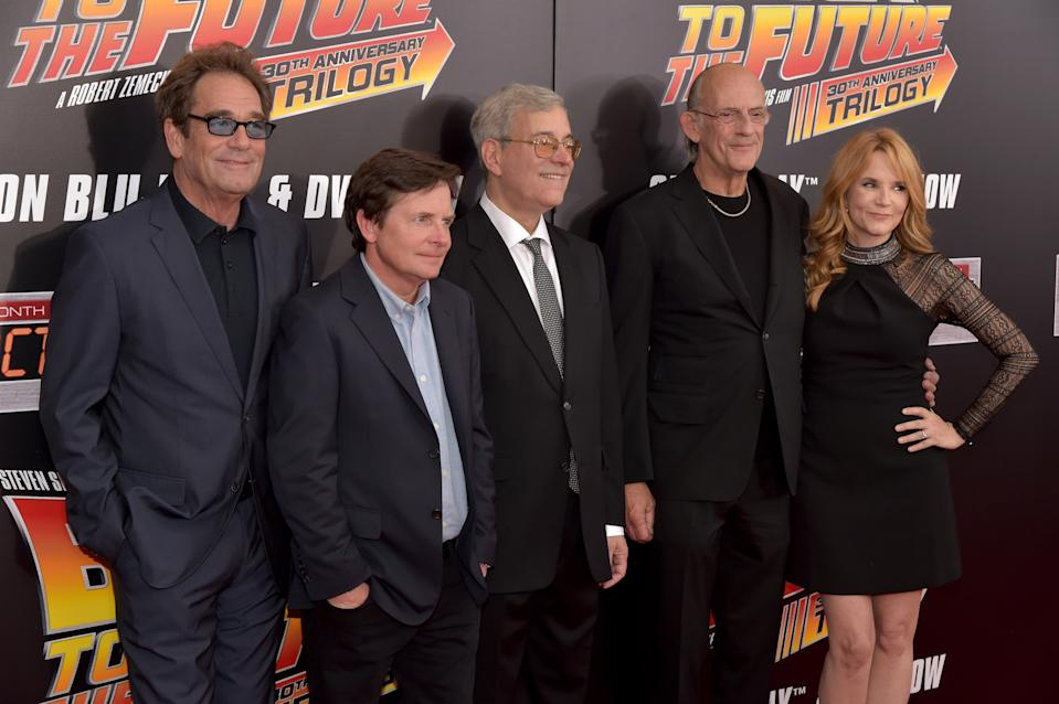 "NEW YORK, NY - OCTOBER 21:  (L-R) Singer Huey Lewis, Actor Michael J. Fox, Co-Creator, Writer and producer of ""Back to the Future"" Bob Gale, Actor Christopher Lloyd and Actress Lea Thompson attend the ""Back To The Future"" New York special anniversary screening at AMC Loews Lincoln Square on October 21, 2015 in New York City.  (Photo by Theo Wargo/Getty Images)"