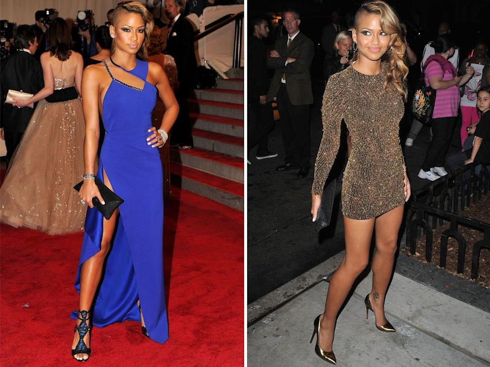 Musician Cassie Ventura at the 2010 Met Gala and an after-party.