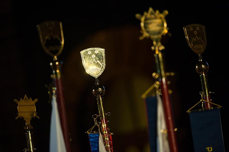 Slovenian national emblems are displayed during celebrations marking the 23rd anniversary of Independance in Ljubljana on June 24, 2014 (AFP Photo/Jure Makovec)