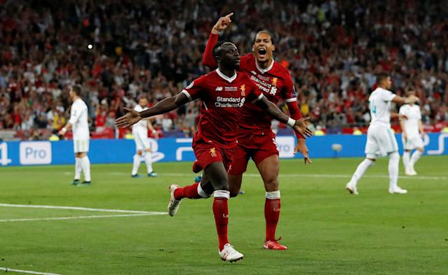 Soccer Football - Champions League Final - Real Madrid v Liverpool - NSC Olympic Stadium, Kiev, Ukraine - May 26, 2018 Liverpool's Sadio Mane celebrates scoring their first goal with Virgil van Dijk REUTERS/Andrew Boyers