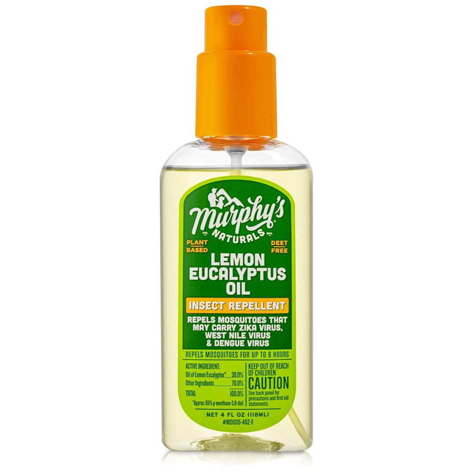 "<h3>Murphy's Naturals Lemon Eucalyptus Oil Insect Repellent</h3> <br>A less chic but just as safe spray option? Murphy's Naturals. The no-frills bottle does just as its name suggests with a plant-based repellent formula that's eco-friendly and skin-safe while still getting the damn mosquito-domination job done.<br><br><strong>Murphy's Naturals</strong> Lemon Eucalyptus Oil Insect Repellent, $, available at <a href=""https://amzn.to/3fCvZBI"" rel=""nofollow noopener"" target=""_blank"" data-ylk=""slk:Amazon"" class=""link rapid-noclick-resp"">Amazon</a><br>"