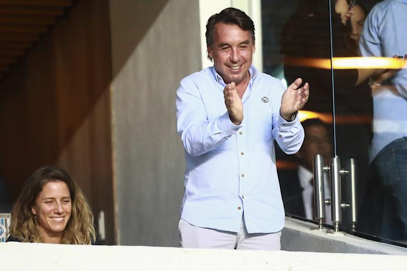 QUERETARO, MEXICO - MAY 16: Emilio Azcarraga, President of America gestures during the semifinals first leg match between America and Leon as part of the Torneo Clausura 2019 Liga MX at Corregidora Stadium on May 16, 2019 in Mexico City, Mexico. (Photo by Hector Vivas/Getty Images)