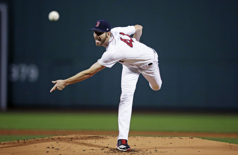 Boston Red Sox starting pitcher Chris Sale delivers during the first inning of a baseball game against the Toronto Blue Jays at Fenway Park in Boston, Tuesday, Sept. 11, 2018. (AP Photo/Charles Krupa)