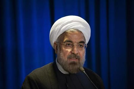 Iran's President Hassan Rohani speaks during an event hosted by the Council on Foreign Relations and the Asia Society in New York