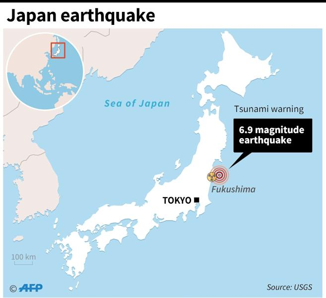 Map of Japan locating powerful November 22, 2016 earthquake (AFP Photo/Alain Bommenel, Adrian Leung)