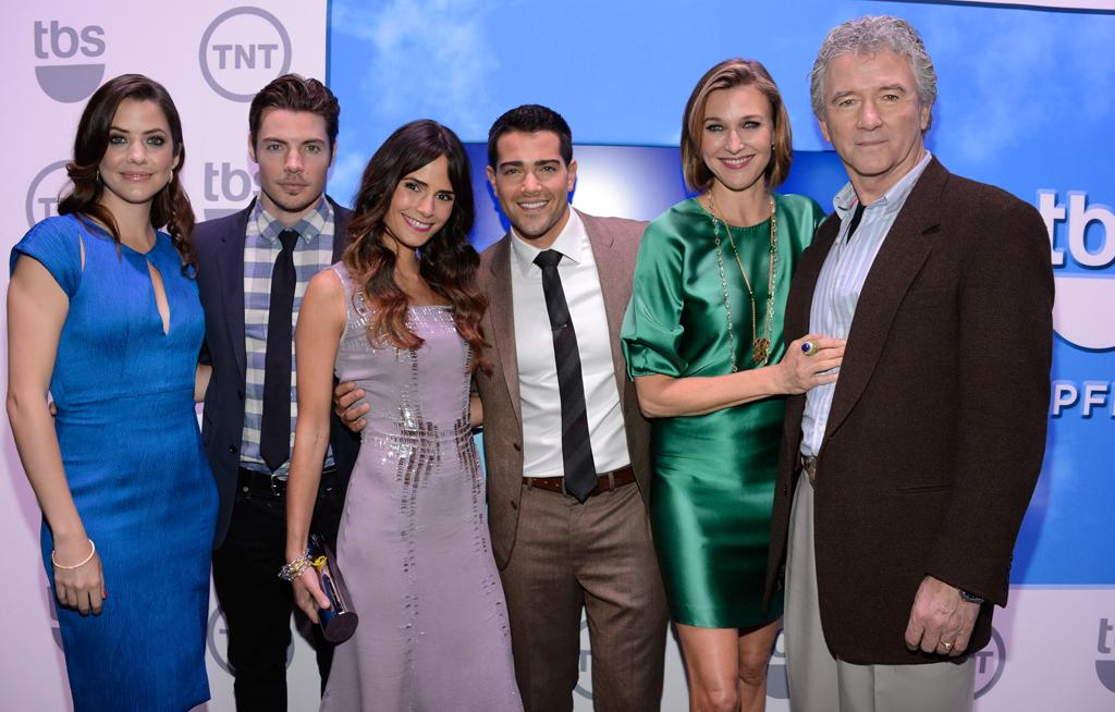"""Julie Gonzalo, Josh Henderson, Jordana Brewster, Jesse Metcalfe, Brenda Strong, and Patrick Duffy (""""Dallas"""") attend the TNT/TBS 2012 Upfront Presentation at Hammerstein Ballroom on May 16, 2012 in New York City."""