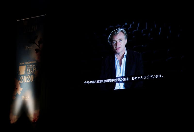 A video message by director Christopher Nolan is screened during the opening ceremony at 33rd Tokyo International Film Festival, amid the coronavirus disease (COVID-19) outbreak, in Tokyo