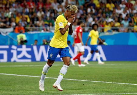 Soccer Football - World Cup - Group E - Brazil vs Switzerland - Rostov Arena, Rostov-on-Don, Russia - June 17, 2018 Brazil's Neymar reacts after missing a goal scoring opportunity REUTERS/Damir Sagolj