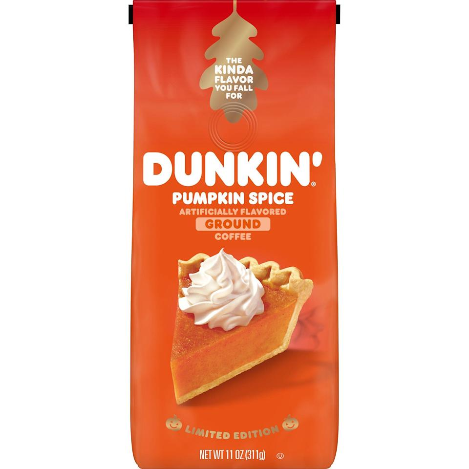 "<p><strong>Dunkin' Donuts</strong></p><p>walmart.com</p><p><strong>$6.98</strong></p><p><a href=""https://go.redirectingat.com?id=74968X1596630&url=https%3A%2F%2Fwww.walmart.com%2Fip%2F20525377&sref=https%3A%2F%2Fwww.delish.com%2Ffood-news%2Fg22727687%2Ffall-foods-drinks-flavors%2F"" rel=""nofollow noopener"" target=""_blank"" data-ylk=""slk:BUY NOW"" class=""link rapid-noclick-resp"">BUY NOW</a></p><p>For when the other pumpkin spice breakfast treats just aren't <a href=""https://www.walmart.com/ip/Dunkin-Donuts-Pumpkin-Spice-Flavored-Ground-Coffee-11-Ounce/20525377"" rel=""nofollow noopener"" target=""_blank"" data-ylk=""slk:enough"" class=""link rapid-noclick-resp"">enough</a>.</p>"