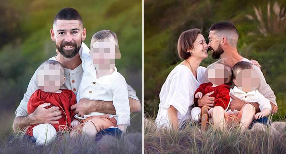 Peter Finch, 33, is pictured with wife Natalie and their two kids.