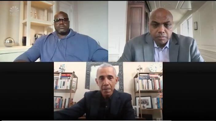 Shaquille O'Neal, Charles Barkley and Barack Obama discuss the important of receiving the COVID vaccine. Photo: attn screen shot