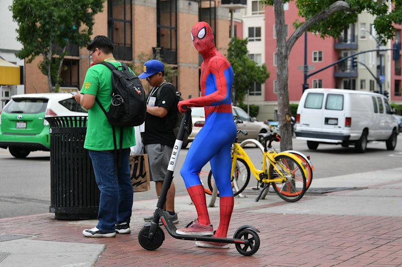 SAN DIEGO, CA - JULY 20: A cosplayer dressed as Spiderman poses on an electric scooter at San Diego Comic-Con International 2018 on July 20, 2018 in San Diego, California. (Photo by Dia Dipasupil/Getty Images)