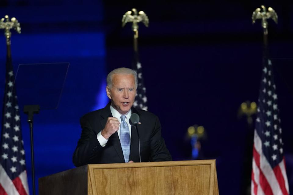 US President-elect Joe Biden speaks while delivering an address to the nation during an election event in Wilmington, Delaware.