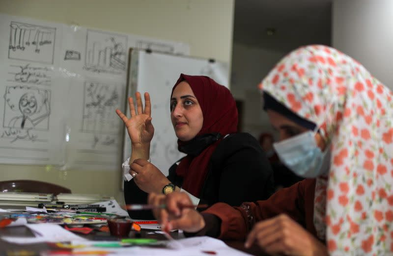 Women with hearing loss in Gaza make animations to raise awareness