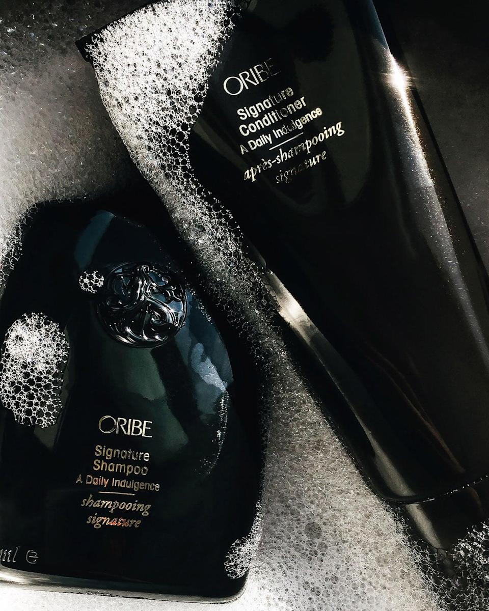 """<p>All Oribe hair products are formulated with """"Oribe's Signature Complex"""" that hydrates, protects, and repairs the hair naturally. The main ingredient? Watermelon extract. There are so many amazing products to choose from, but we're partial to the classic <span>Oribe Signature Shampoo</span> ($42) and <span> Signature Conditioner</span> ($42).</p>"""