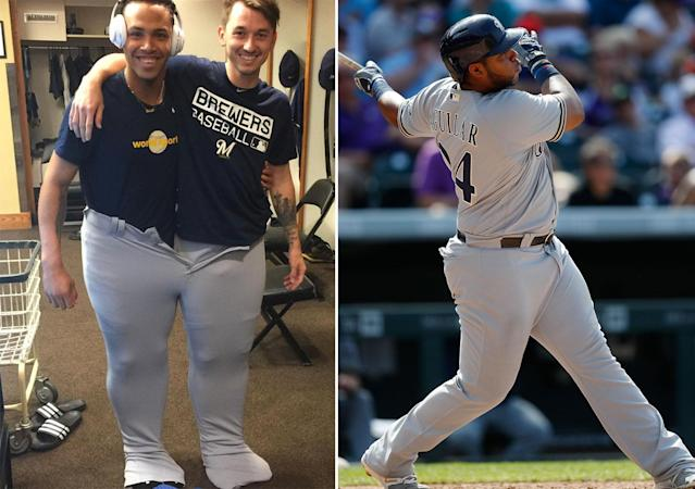 Orlando Arcia and Zach Davies in the pants of teammate Jesus Aguilar (right). (@ericthames, AP)