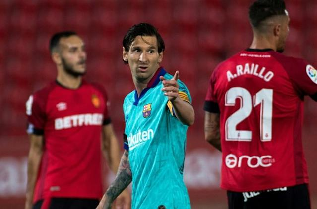 A beardless Lionel Messi returned to the football pitch with a goal and two assists as Barcelona thumped Real Mallorca (AFP Photo/JAIME REINA)
