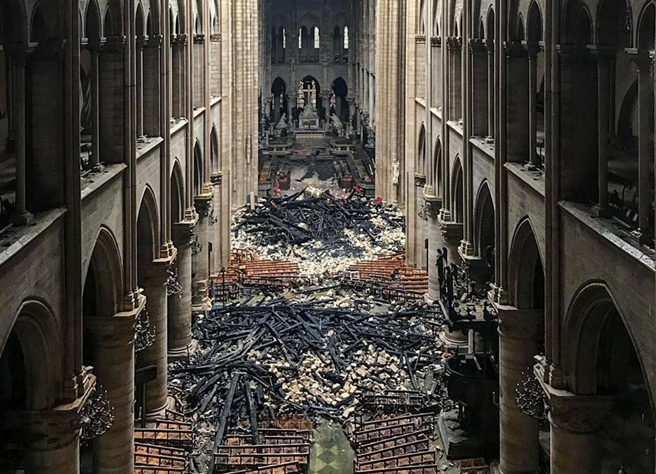 <p>The inside of the Notre-Dame Cathedral in Paris the day after a fire devastated the cathedral. </p>