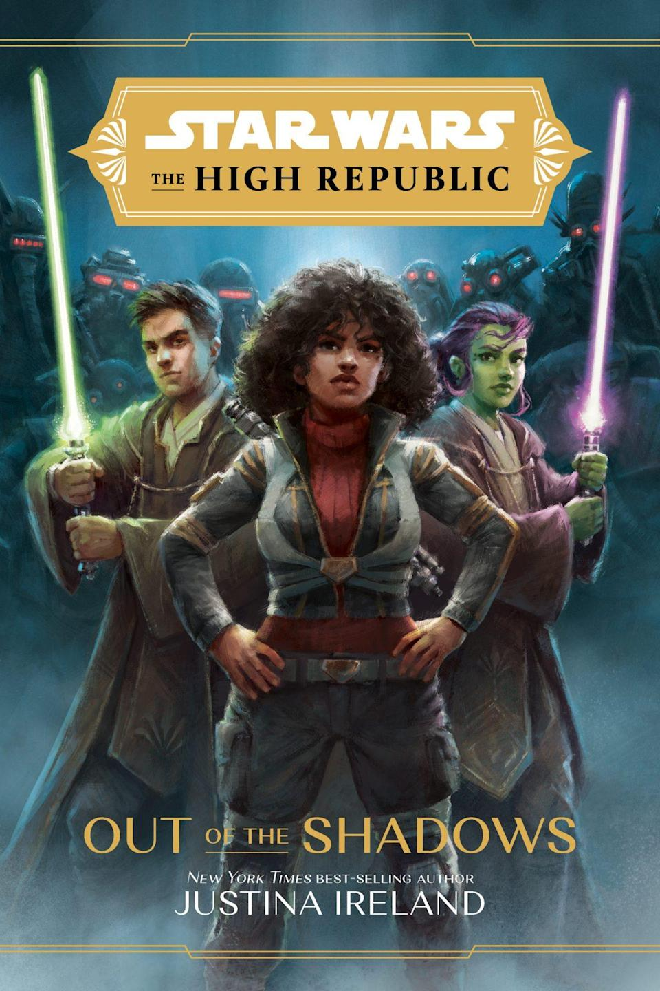The illustrated cover of Star Wars: The High Republic Out of the Shadows depicting a human and alien holding lightsabers on either side of a young Black woman