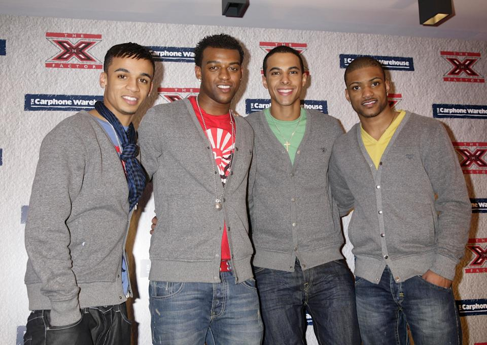 Boyband JLS at the Secret X Factor gig at The Carphone Warehouse, on Oxford Street in central London.