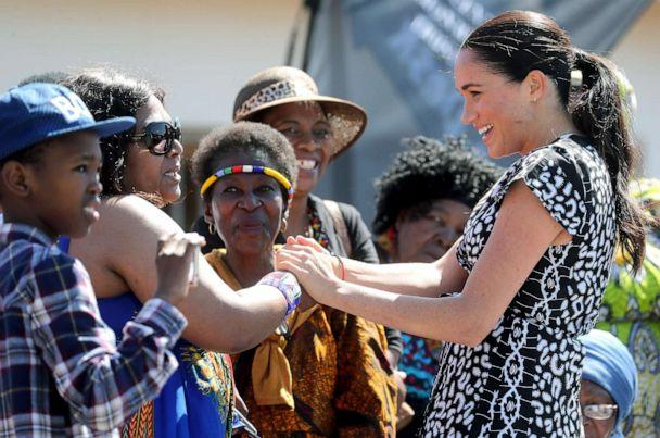PHOTO: Meghan, Duchess of Sussex meets well-wishers as she visits a Justice Desk initiative in Nyanga township, with Prince Harry, Duke of Sussex, during their royal tour of South Africa, Sept. 23, 2019 in Cape Town, South Africa. (Chris Jackson/Getty Images)
