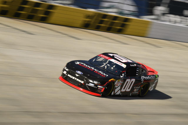 Driver Cole Custer (00) comes out of turn one during stage one of the NASCAR Xfinity Series auto race, Saturday, Oct. 5, 2019, in Dover, Del. (AP Photo/Brien Aho)