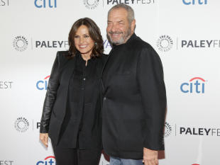 """Mariska Hargitay, left, and Dick Wolf, attend the PaleyFest New York """"Law & Order: SVU"""" panel discussion during The William S. Paley Television Festival at The Paley Center for Media on Monday, Oct. 13, 2014, In New York. (Photo by Andy Kropa/Invision/AP)"""