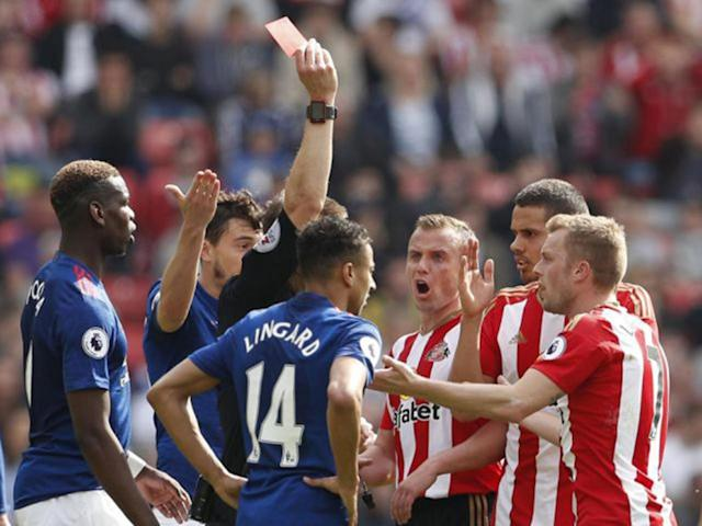 Sebastian Larsson was shown a straight red card for a foul on Ander Herrera (Reuters)