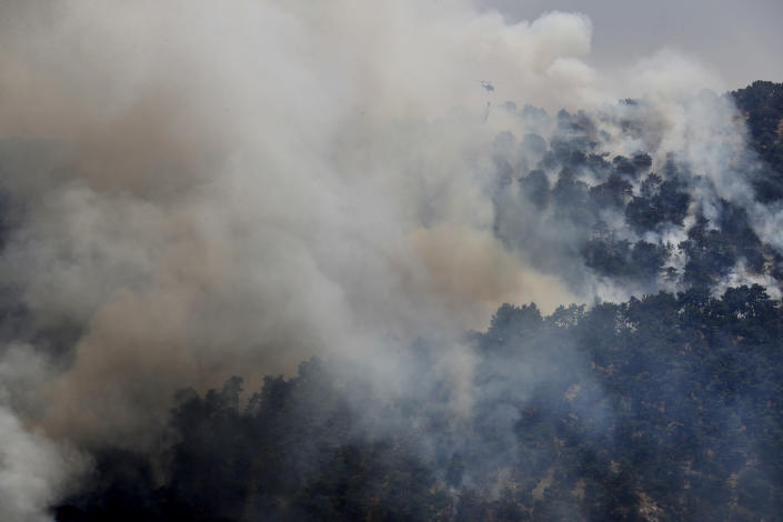 A Lebanese army helicopter drops water over a forest fire, at Qobayat village, in the northern Akkar province, Lebanon, Thursday, July 29, 2021. Lebanese firefighters are struggling for the second day to contain wildfires in the country's north that have spread across the border into Syria, civil defense officials in both countries said Thursday. (AP Photo/Hussein Malla)