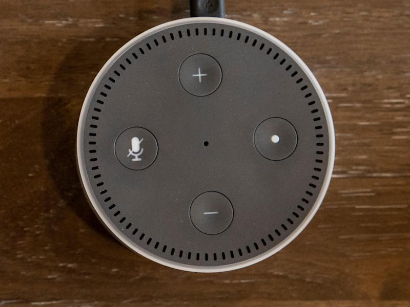 An Alexa-enabled Echo Dot pictured at Amazon Headquarters in Seattle, Washington, on 20 September, 2018: Getty