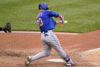 New York Mets' Michael Conforto hits a two-run home run off Pittsburgh Pirates relief pitcher Richard Rodriguez during the ninth inning of a baseball game in Pittsburgh, Sunday, July 18, 2021. (AP Photo/Gene J. Puskar)