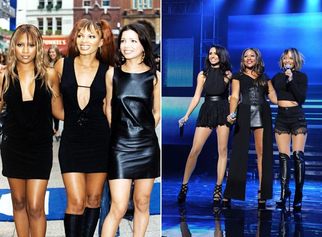 Big Reunion bands before and after: The original Honeyz lineup has changed slightly since the first picture of the band [left] The original members, Celena and Heavenli are now joined by Mariama . Copyright [PA/Rex]