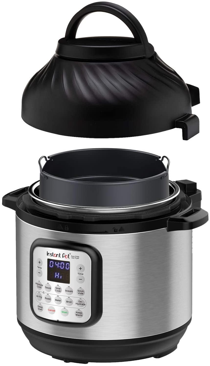 Instant Pot Duo Crisp 11-in-1 Air Fryer, Electric Pressure Cooker, Slow Cooker, Steamer, Saute, Sous Vide, Roast, Bake, Broil, and Warmer|8 Quart|11 One-Touch Programs.