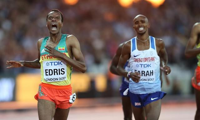 """<span class=""""element-image__caption"""">Mo Farah of Great Britain displays his anguish as he finishes runner-up to Muktar Edris of Ethiopia in the 5,000m final in London.</span> <span class=""""element-image__credit"""">Photograph: John Patrick Fletcher/Action Plus via Getty</span>"""