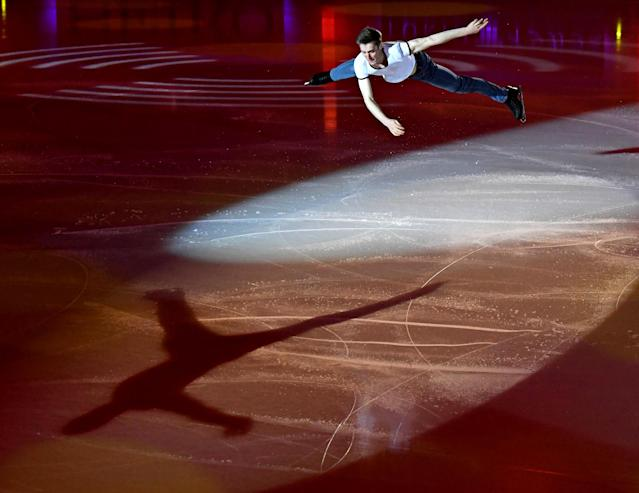 <p>Russia's Alexander Samarin performs during the Gala show at the end of the Internationaux de France ISU Grand Prix of Figure Skating in Grenoble, central-eastern France, on November 19, 2017. ( JEAN-PIERRE CLATOT/AFP/Getty Images) </p>