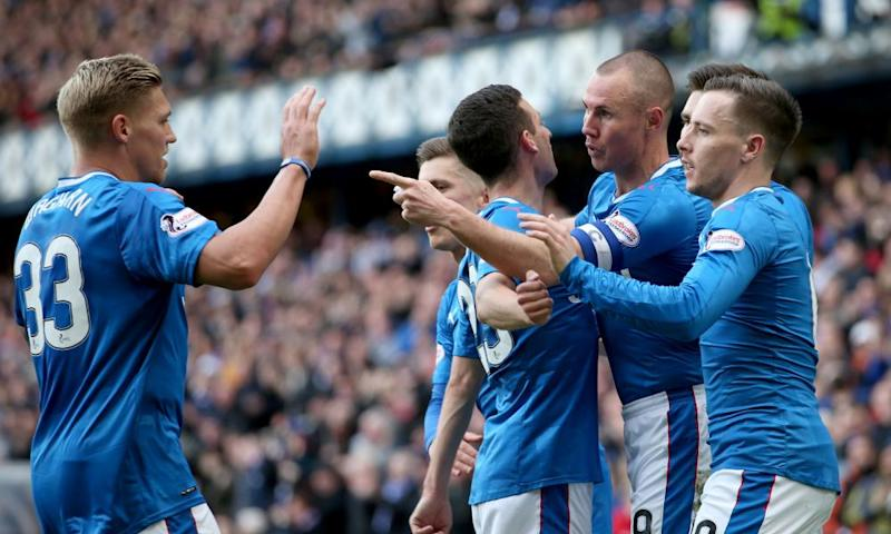 Kenny Miller celebrates scoring Rangers' opening goal against Partick Thistle.
