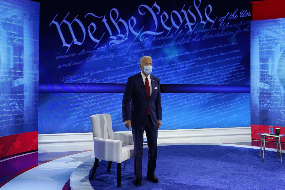 Democratic presidential candidate former Vice President Joe Biden participates in a town hall with moderator ABC News anchor George Stephanopoulos at the National Constitution Center in Philadelphia, Thursday, Oct. 15, 2020. (AP Photo/Carolyn Kaster)