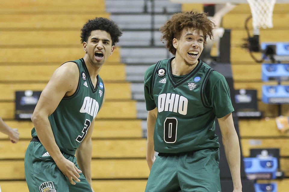 BLOOMINGTON, INDIANA - MARCH 20: Ben Roderick #3 and Jason Preston #0 of the Ohio Bobcats react during the game against the Virginia Cavaliers in the first round of the 2021 NCAA Men's Basketball Tournament at Assembly Hall on March 20, 2021 in Bloomington, Indiana. (Photo by Stacy Revere/Getty Images)