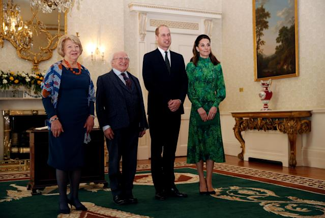 The Duke and Duchess of Cambridge meet the President of Ireland, Michael D. Higgins and his wife Sabina Coyne. (Press Association)