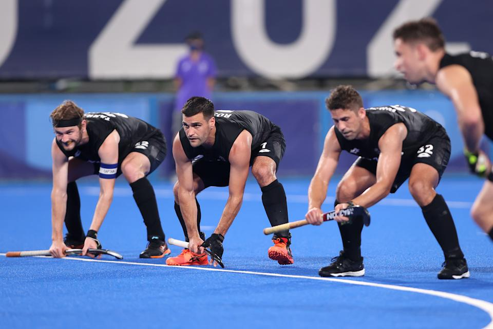 <p>TOKYO, JAPAN - JULY 28: Nick Ross of Team New Zealand prepares for a penalty corner during the Men's Preliminary Pool A match between Australia and New Zealand on day five of the Tokyo 2020 Olympic Games at Oi Hockey Stadium on July 28, 2021 in Tokyo, Japan. (Photo by Alexander Hassenstein/Getty Images)</p>