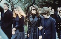 <p>Jackie Onassis and her children Caroline and John F. Kennedy Jr. attend the funeral of her second husband, Aristotle Onassis. </p>