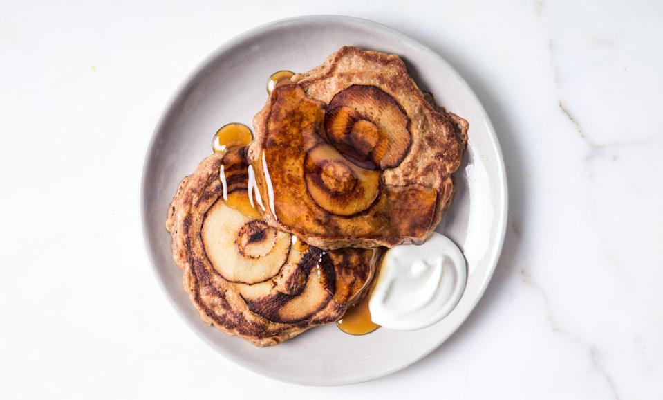 """This apple pancakes recipe features a serving of whole grains and produce that you get to pour maple syrup over. Yes please! <a href=""""https://www.bonappetit.com/recipe/oat-and-apple-pancakes-with-yogurt-and-honey?mbid=synd_yahoo_rss"""" rel=""""nofollow noopener"""" target=""""_blank"""" data-ylk=""""slk:See recipe."""" class=""""link rapid-noclick-resp"""">See recipe.</a>"""