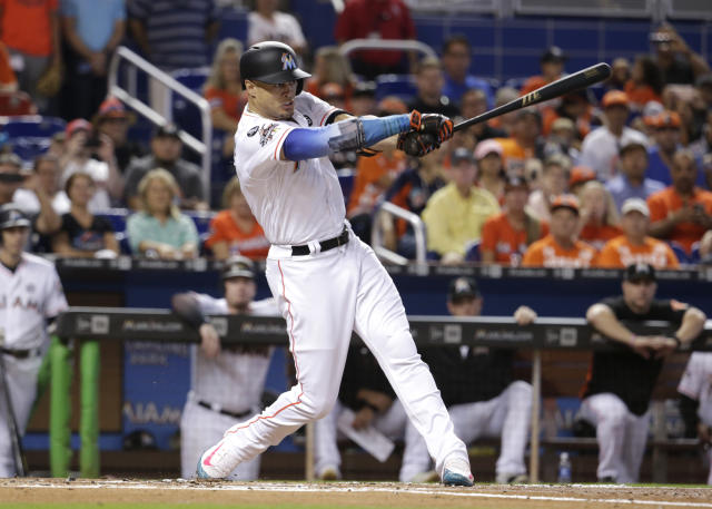 "<a class=""link rapid-noclick-resp"" href=""/mlb/players/8634/"" data-ylk=""slk:Giancarlo Stanton"">Giancarlo Stanton</a> can pretty much choose his next team. (AP Photo)"