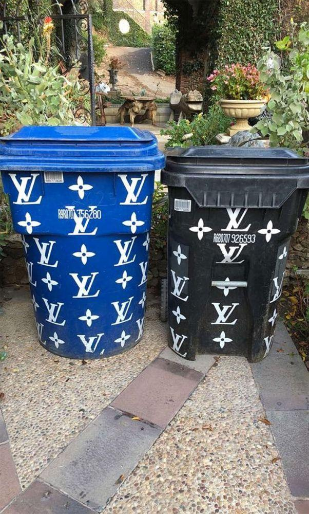 The <em>Keeping Up With the Kardashians</em> star recently showed off her Louis Vuitton-inspired trash cans
