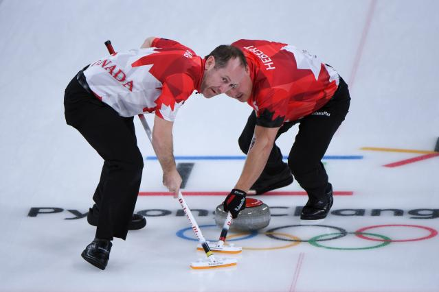 <p>Canada's Brent Laing (L)and Ben Hebert brush in front of the stone during the curling men's round robin session between Canada and Sweden during the Pyeongchang 2018 Winter Olympic Games at the Gangneung Curling Centre in Gangneung on February 17, 2018 </p>