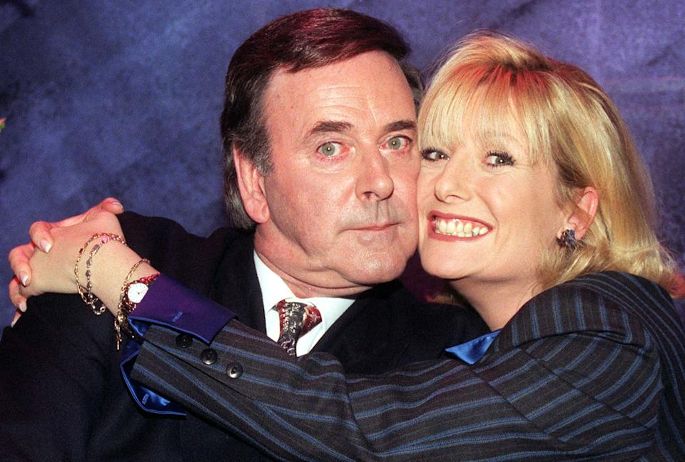 Children in Need presenters Terry Wogan and Gaby Roslin at BBC TV Centre this evening (Friday) before tonight's charity telethon. Photo by Stefan Rousseau/PA.   (Photo by Stefan Rousseau - PA Images/PA Images via Getty Images)